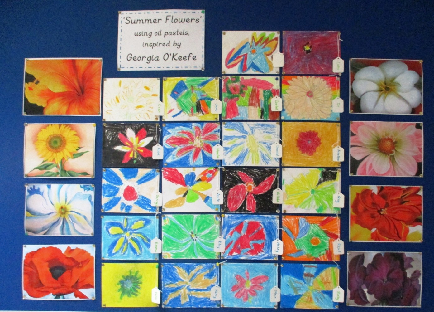 'Summer Flowers' using oil pastels, inspired by Georgia O'Keefe